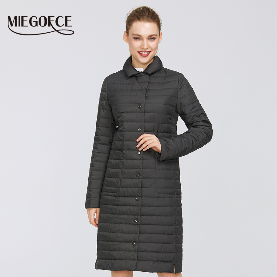 MIEGOFCE 2020 New Spring Design Long Models Women Jacket Exquisite Quilted Women Coat Spring Windproof Long Coat With Scarves