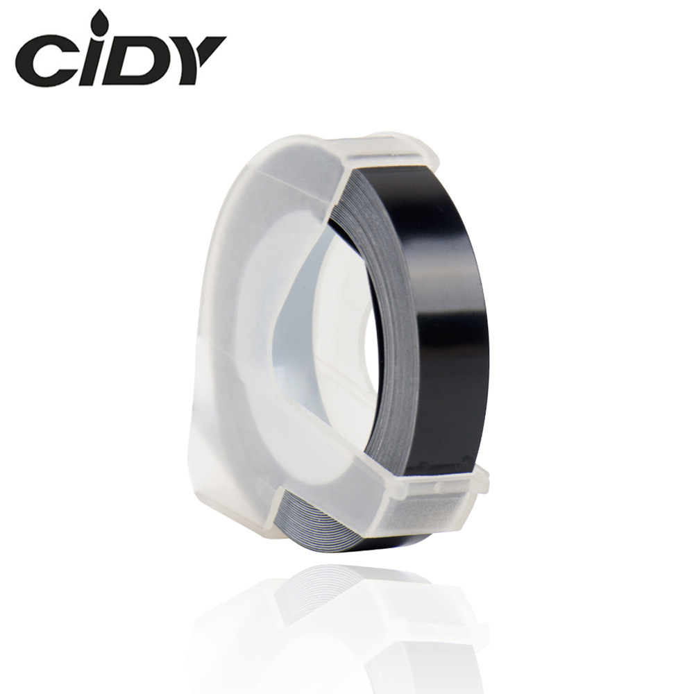 CIDY 1pcs Black Color Compatible For DYMO 1610 12965 1880 Label Maker DYMO 3D Plastic Embossing Xpress Label 9mm*3m MOTEX E101