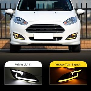 Image 1 - רכב מהבהב 1 זוג DRL לפורד פיאסטה 2013 2014 2015 2016 בשעות היום ריצת אורות ערפל ראש מנורת כיסוי רכב סטיילינג לבן אור יום