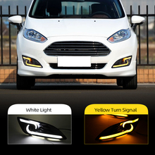 Car Flashing 1Pair DRL For Ford Fiesta 2013 2014 2015 2016 Daytime Running Lights Fog head Lamp cover car styling white Daylight