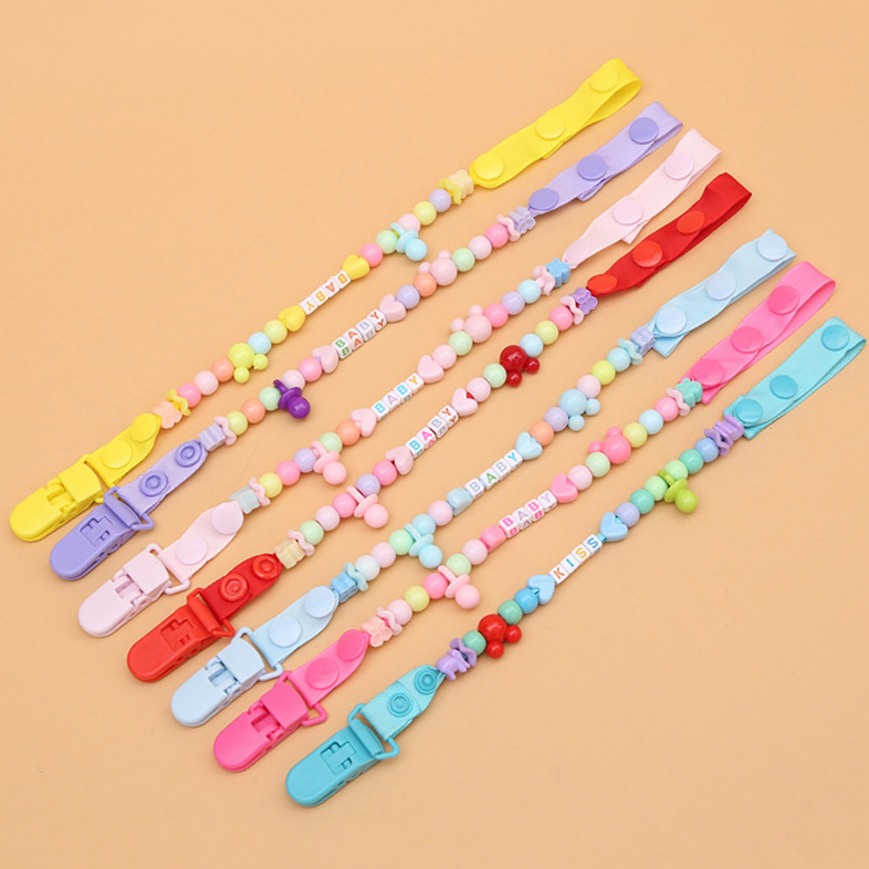 Baby Toys Clip Pacifier Chain Hand Made Colourful Beads Dummy Clip Nipple Holder Toddler Toys For Baby Reborn Teether
