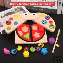 Baby Fishing Toy Set Childrens Magnetic Wooden Montessori Educational Ladybug  Cute