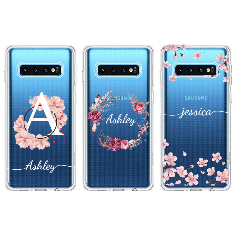 Personalized Custom Initial Name Floral Marble Phone Case For Samsung Galaxy Note 8 9 10 A7 A8 S8 S9 S10 S20 Plus Soft Slim Case