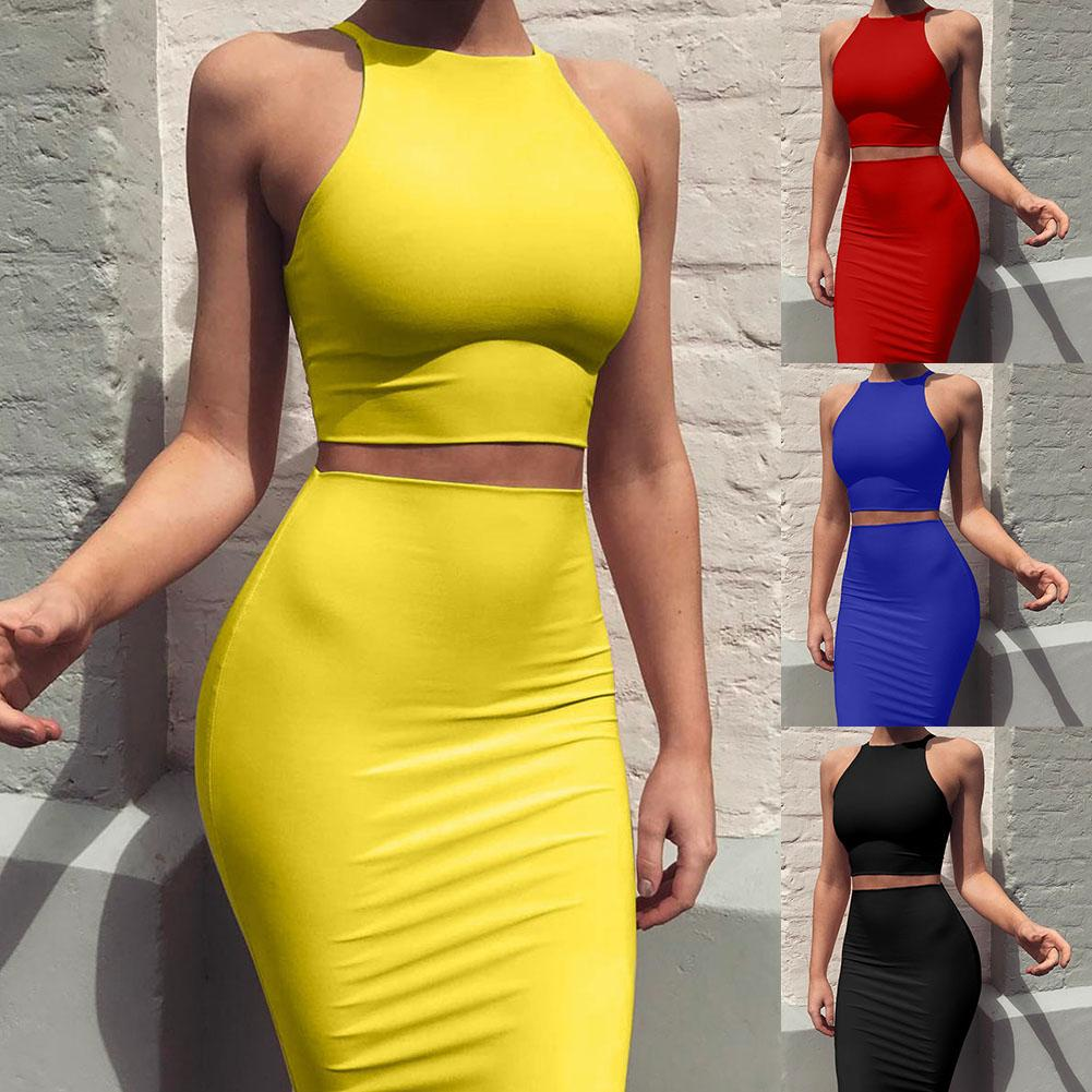 HOT SALES!!!2Pcs Women Solid Color Sleeveless Crop Top High Waist Knee Length Bodycon Skirt Wholesale Dropshipping