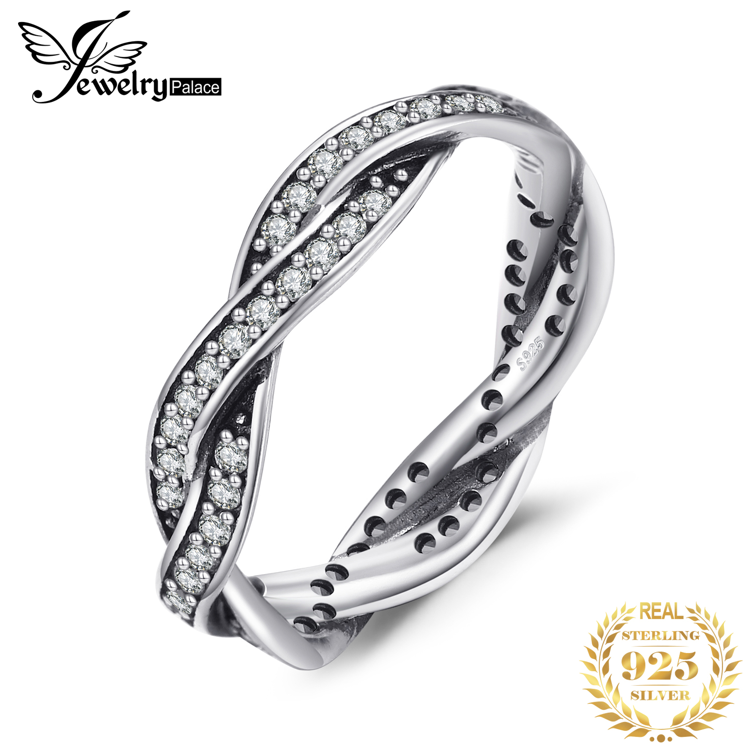 Jewelrypalace 925 Sterling Silver Rings Cubic Zirconia Infinity Wedding Band Bridal Jewelry New Arrival Gifts For Her Fashion
