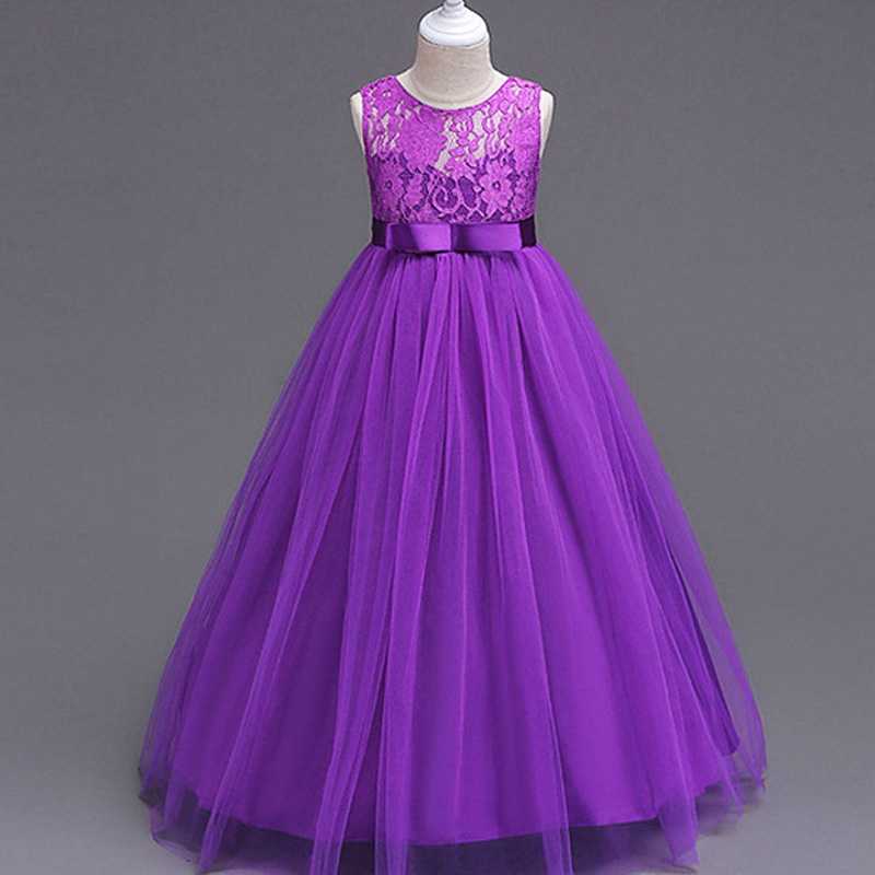 2019 Fashion White Lace Girl Dress for Party Wedding 4 14 Years Solid Color Purple Sleeveless Teenage Girls Colthing Vestidos