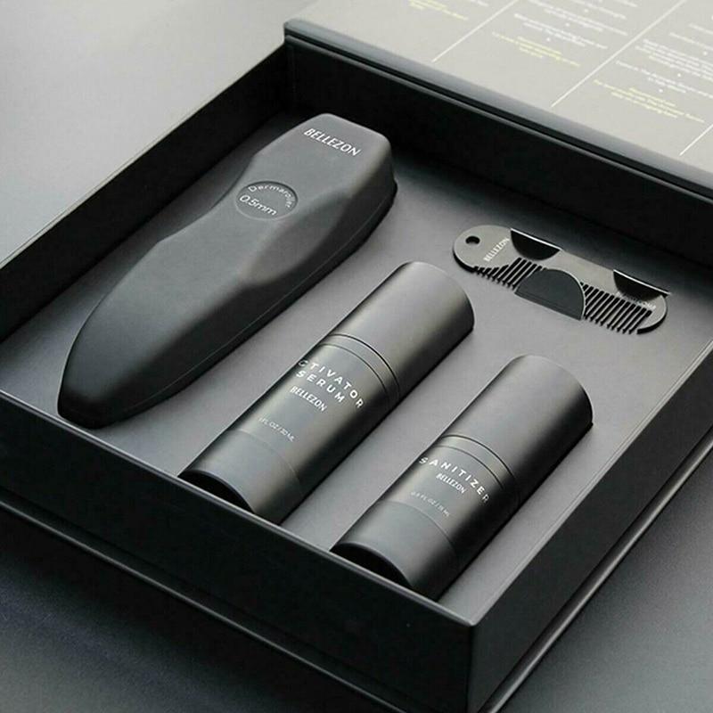 Men Beard Grow Oil Kit Activator Serum Set Styling Shaper Roller Comb Hair Care Nourishing Men Beard Grooming Treatment