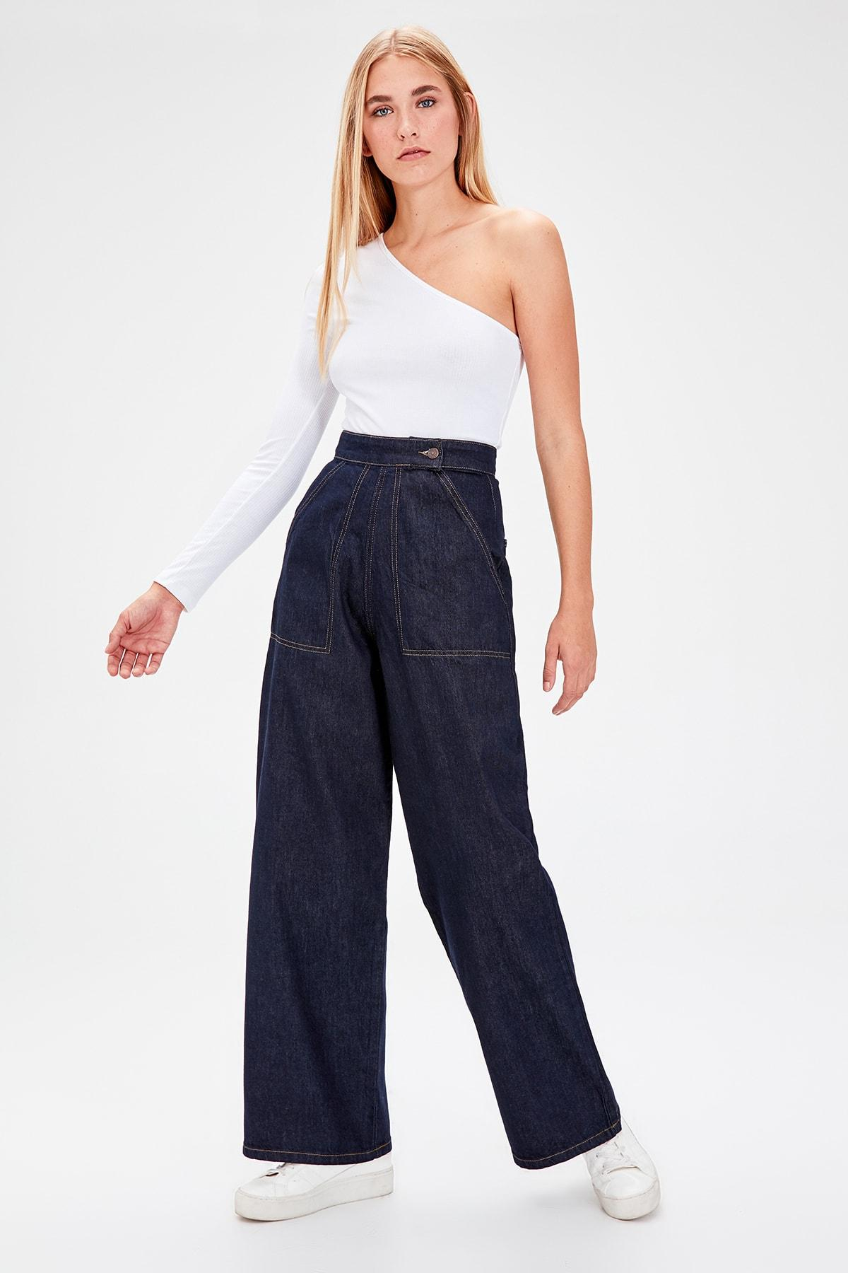 Trendyol Navy Blue Button Detail High Bel Wide Leg Jeans TWOAW20JE0089