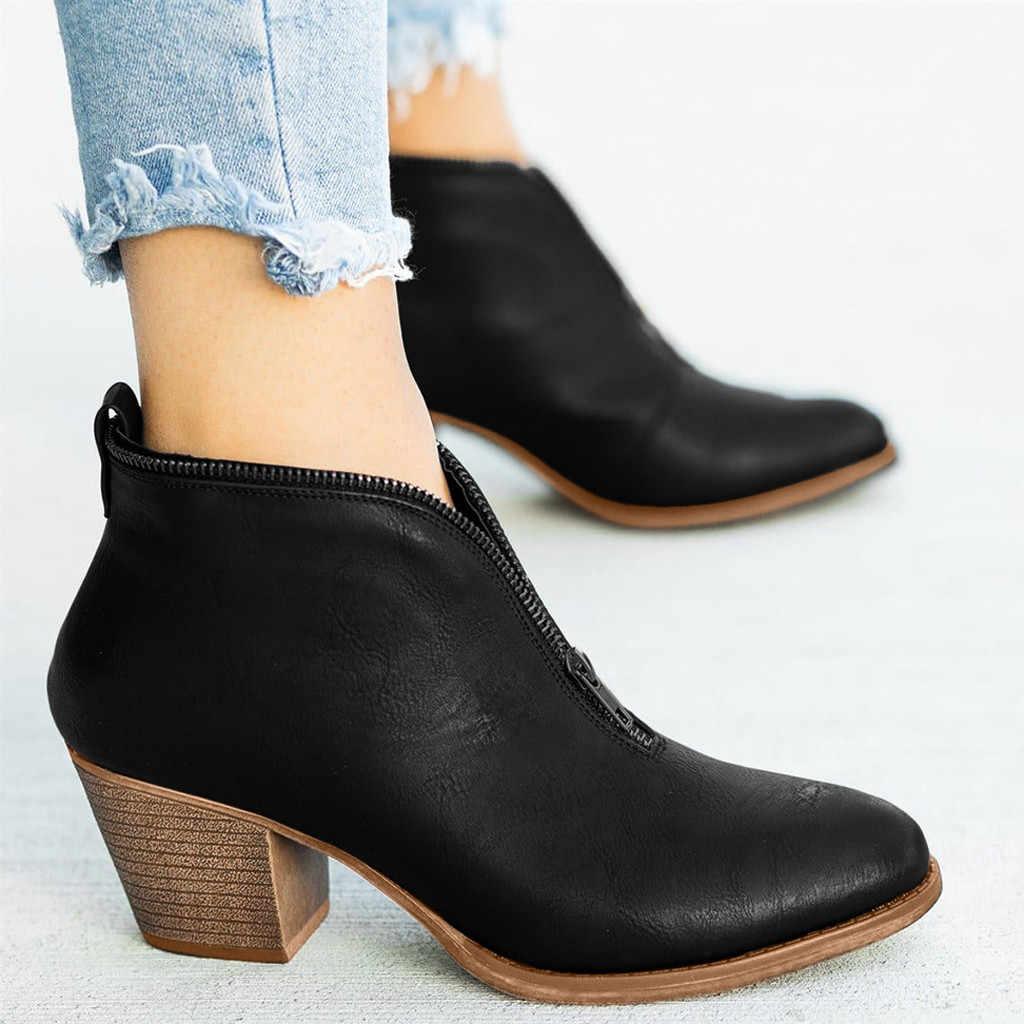 คุณภาพสูงรองเท้าสตรี Retro Retro ขนาดใหญ่ขนาดสแควร์สั้นข้อเท้า Boot รองเท้า Bottes Femme Cuir veritable