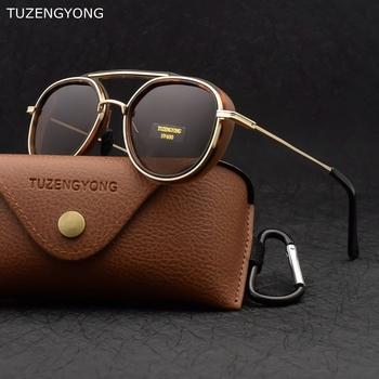 TUZENGYONG 2021 nowy gotycki Steampunk spolaryzowane okulary przeciwsłoneczne damskie marka projektant Vintage męskie okulary przeciwsłoneczne UV400 okulary tanie i dobre opinie CN (pochodzenie) Dla osób dorosłych STOP polaryzacyjne Przeciwodblaskowe 45mm Polaroid T0678 50mm