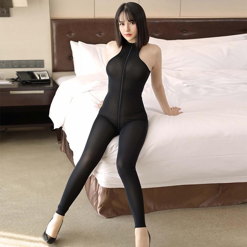 See Through Women Vest Full Bodystocking Sexy Ultra-thin Tight Jumpsuit Hight Elastic Mesh Open Long Zipper Open Crotch Bodysuit