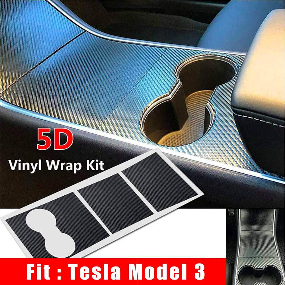 Practical Car Sticker 5D Carbon Firber Sticker Protector Interior Decoration Black For Tesla Model 3 Center Console Wrap Kit in Car Stickers from Automobiles Motorcycles