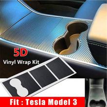 Practical Car Sticker 5D Carbon Firber Protector Interior Decoration Black For Tesla Model 3 Center Console Wrap Kit