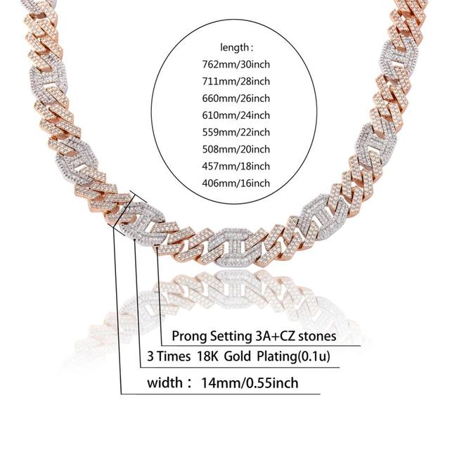 JINAO Men 14mm Iced Out Chain Zircon Miami Cuban Link Baguette Zircon Necklace Bling Hip Hop Jewelry Gold Silver Rosegold 16-30