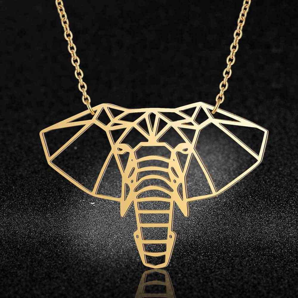 100% prawdziwe ze stali nierdzewnej 40cm duży słoń głowy długi naszyjnik Trend biżuteria naszyjniki Super jakość