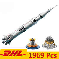 DHL 37003 USA Die Apollo Saturn V Starten Fahrzeug Modell 1969Pcs Building Block Kind Bildung Spielzeug Kompatibel LegoINGly 21309