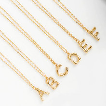 Fever&Free Women Fashion Tiny Gold Letter Necklace Big Bamboo Initial Pendant Necklace For Girls Best Gifts Capital Jewelry 2019(China)