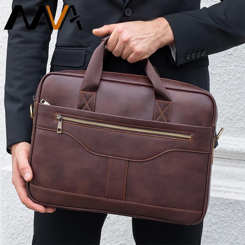 MVA Men's Briefcase Genuine Leather Bag Men Messenger Bags Laptop Office Bags For Men 's Leather Bag Business Carteras Hombre