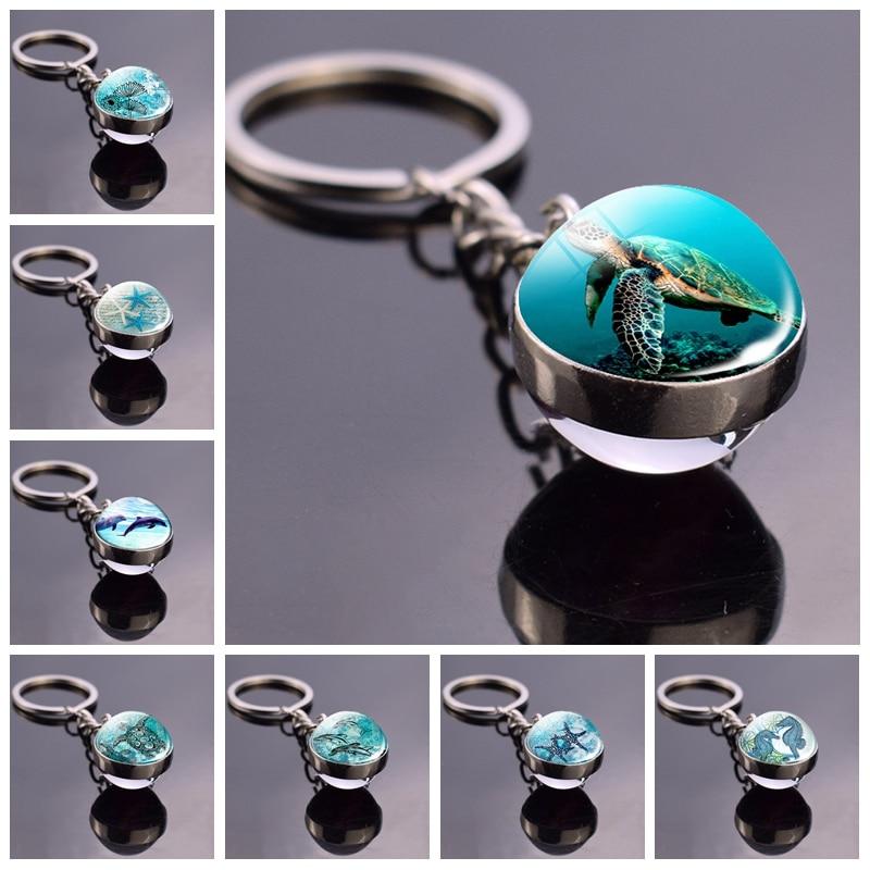Blue Sea Marine Life Jewelry Turtle Dolphin Seashells Key Chain Keyring Glass Ball Keychain Crystal Pendant Christmas Gift