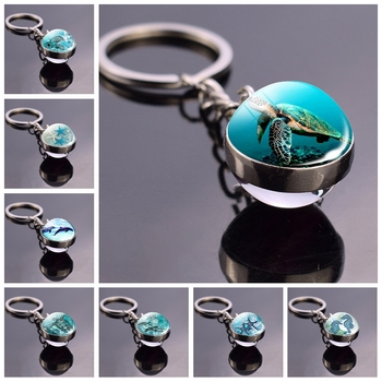 Blue Sea Marine Life Jewelry Turtle Dolphin Seashells Key Chain Keyring Glass Ball Keychain Crystal Pendant Christmas Gift