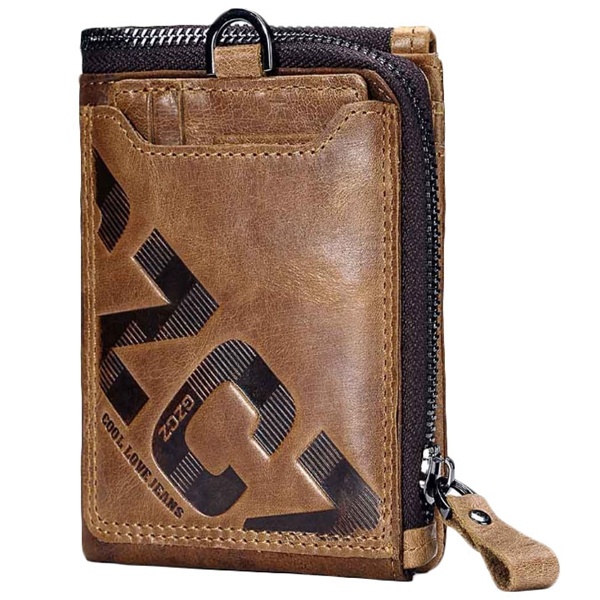 Gzcz Genuine Leather Men Wallet Fashion Coin Purse Card Holder Small Wallet Men Male Clutch Zipper Clamp For Money(Brown)