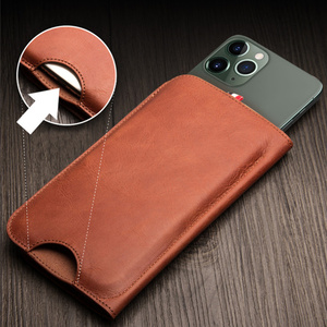 Image 4 - MYL 38W Multi function Handmade Pure Genuine Leather Wallet For iPhone 11 Pro Max 7 8 Plus Xs Max Real Cowhide Pouch Bags Case