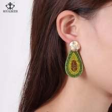Серьги Подвески ручной работы с кристаллами авокадо новые модные