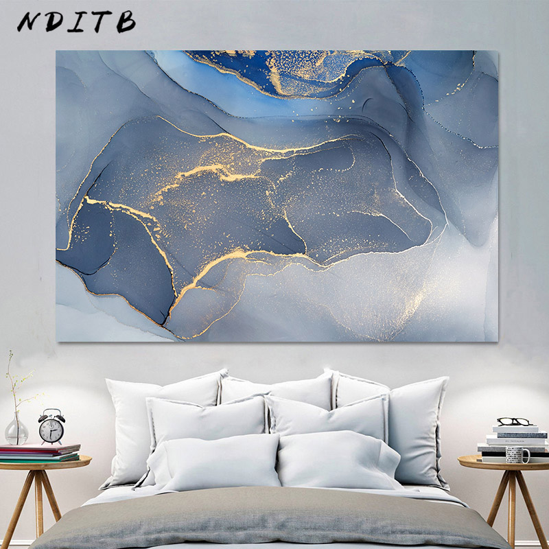 Marble Texture Abstract Poster Gold Blue Wall Art Print Modern Style Canvas Ink Painting Nordic Decorative Picture Home Decor image