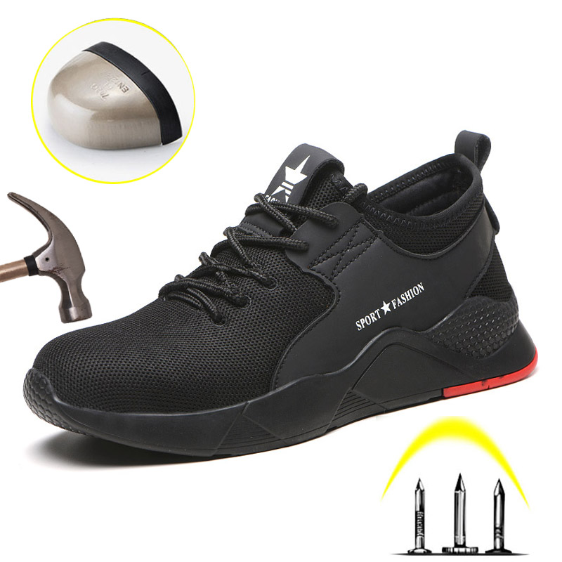 Indestructible Men Work Shoes Safety Steel Toe Anti-Smashing Ryder Shoes Casual Breathable Sneakers Boots Mens Construction Shoe