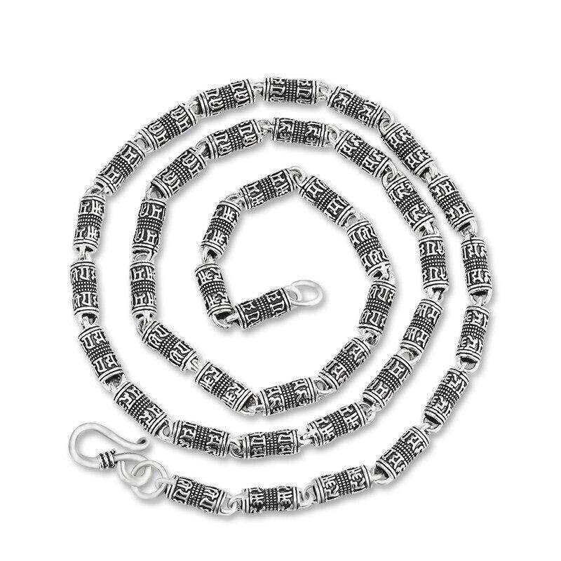 Pur argent 925 Sterling argent Long chaîne collier Regious Budda Mantra Thai argent rétro croix collier épais (HY)