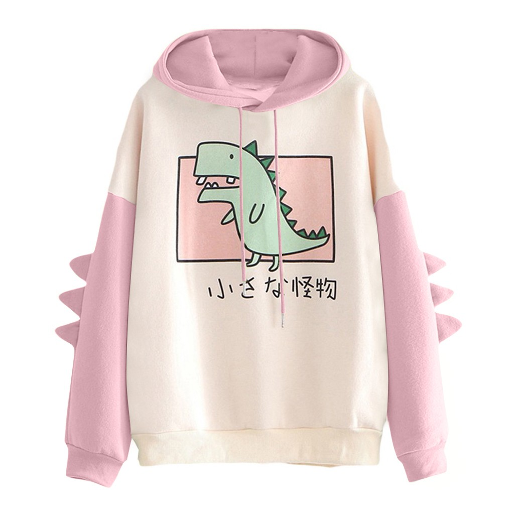 40#Hoodies Women Casual Cute Cartoon Dinosaur Print Long Sleeve Splice Dinosaur Sweatshirt Autumn Winter Warm Pullover Tops 9