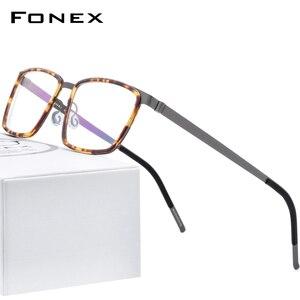 Image 1 - FONEX خلات سبائك العين إطارات النظارات للرجال مربع قصر النظر وصفة طبية البصرية العين إطارات النظارات 2020 بدون مسامير نظارات 98629