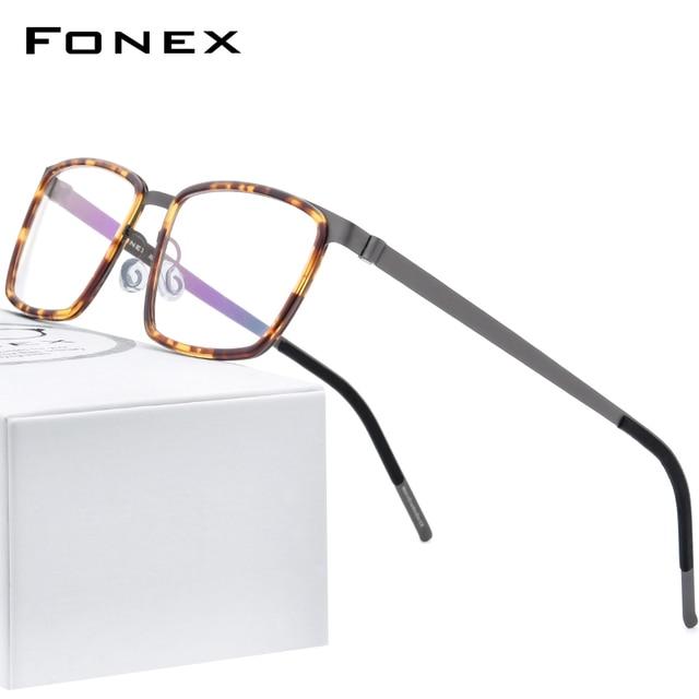 FONEX خلات سبائك العين إطارات النظارات للرجال مربع قصر النظر وصفة طبية البصرية العين إطارات النظارات 2020 بدون مسامير نظارات 98629