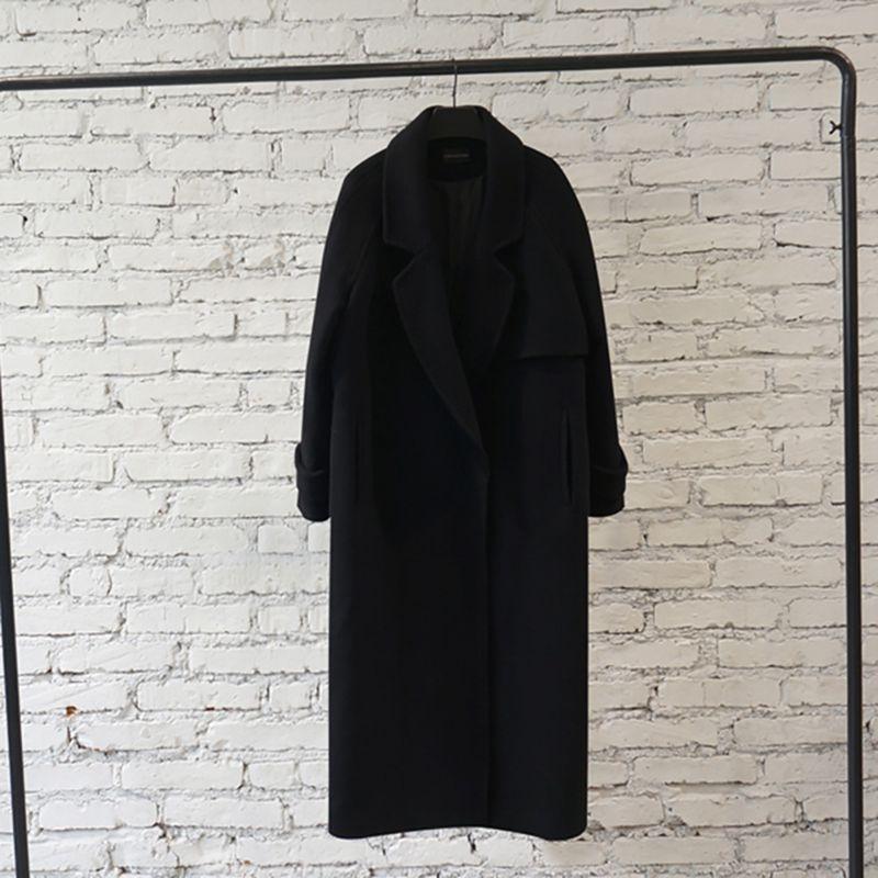 women Winter Coat cashmere wool jacket 2019 new fashion medium long loose woolen coat black slim long sleeve woolen outerwear