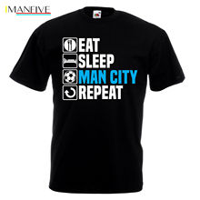 Men Designer Clothes O-Neck Style Hip-Hop Tops Tees Eat Sleep Man City T Shirt Footballer Manchester Fathers Day Birthday Gift