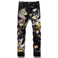 Jean de Style européen pour hommes, pantalon en denim slim, noir, à rayures droites, trous, collection 2021