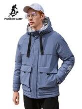 Pioneer camp quente velo para baixo jaqueta para homem inverno com capuz zíper preto azul causal casacos masculinos ayr901502