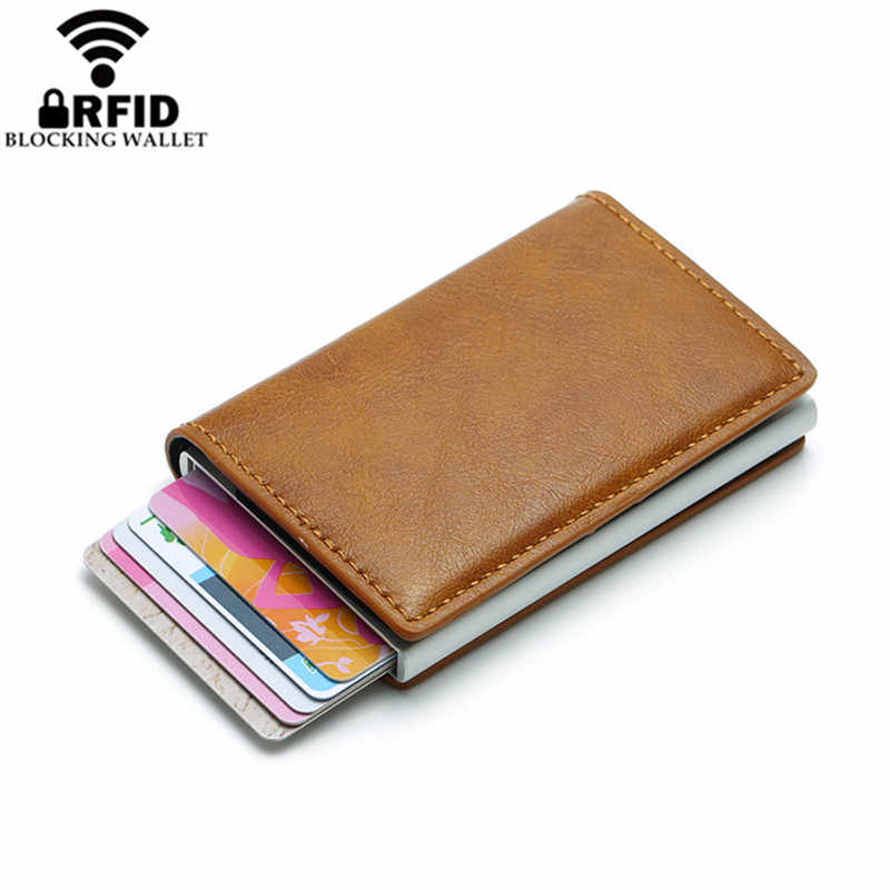 2019 Smart Wallet Visitekaarthouder Hasp Rfid Portemonnee Aluminium Metal Credit Business Mini Card Wallet Dropshipping man vrouwen