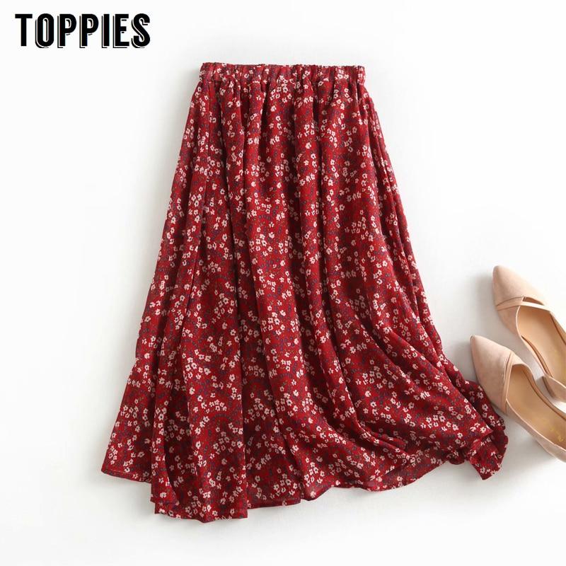Rote Blumen Druck Midi röcke Hohe Taille A-linie Röcke frauen Elastische Taille Faldas Koreanische Streetwear