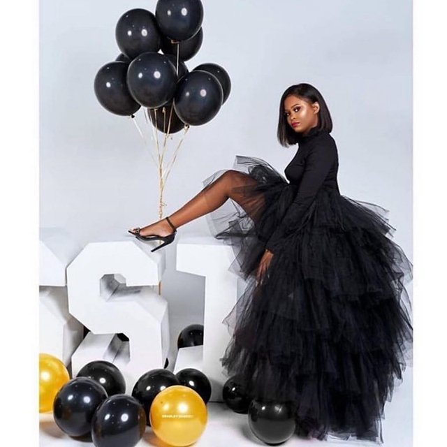 Chic Black Puffy Hi Low Tutu Party Skirt High Low Tulle Skirt Layered Women Long Skirt for Prom Custom Made 1