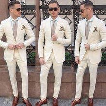 Ivory Men Suits Peaked Lapel Blazer Classic Fit Two Pieces Custom Made Wedding Tuxedos For Groom Wear (Jacket + Pants)(China)