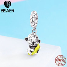 BISAER 925 Sterling Silver Lucky Animal Monkey Love Hug Pendant Charm fit Women Charm Bracelet DIY 925 Silver Jewelry GXC520 bamoer valentine day gift 925 sterling silver cheers for love couple beer pendant charm fit charm bracelet diy jewelry scc478