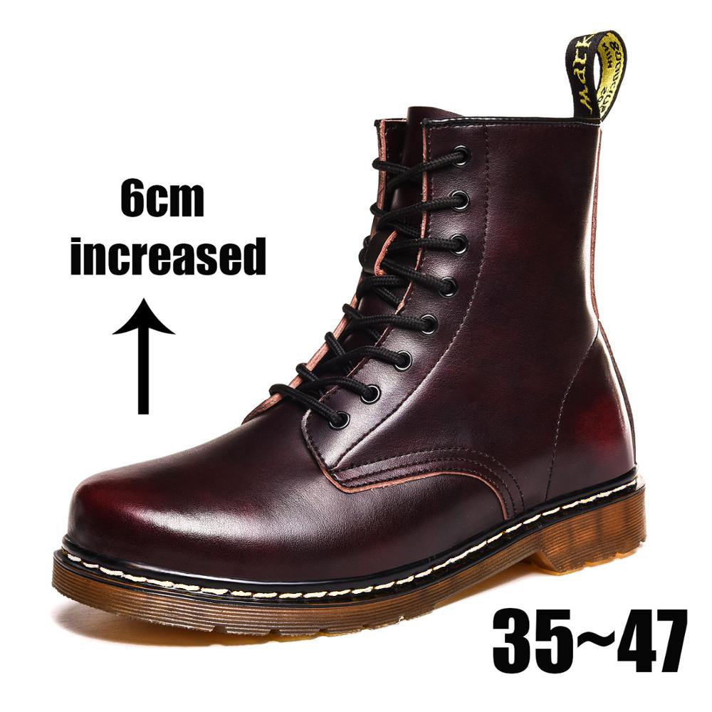 Coturno Men Martin Leather Shoes High Top Fashion Winter Warm Snow Shoes Dr. Motorcycle Ankle Boots Couple Unisex Doc Boots