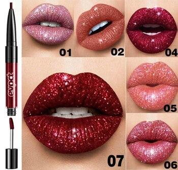 7 cor dupla cabeça batom brilho shimmer sexy vermelho lábio esmalte lábio forro caneta dupla uso à prova ddouble água duradoura lábio maquiagem tslm1
