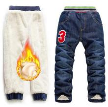 6-10Yrs Boys Jeans Trousers Winter Add Wool Pants New 2019 Children Washed Denim Long