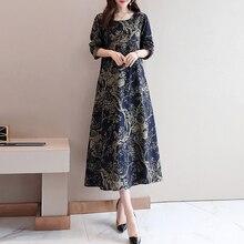 Long Sleeve Ethnic Print Loose Round Neck Women Dress 2019 Autumn Vintage Korean Style Dresses Causal Blue Office Robe vestidos цены