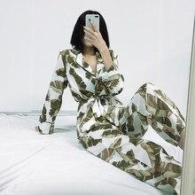 HiLoc Banana Leaf Robe Sets Long Sleeve Satin Pajamas Tropical Graphic 2 Piece Set Women Sleepwear Home Suit Sets Bathrobe 2020