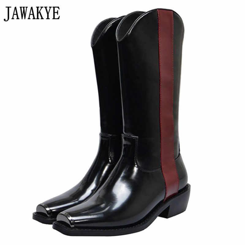 Siyah hakiki deri Patchwork renk Orta tüp çizmeler kadınlar Metal kare ayak 4 cm tıknaz topuk çizmeler kadın Motosiklet Botları