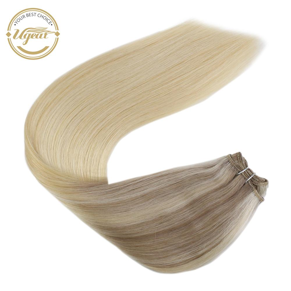 Ugeat Halo Weft Real Hair Extensions Balayage Machine Remy Hair 12-22inch Natural Straight Flip In Human Hair