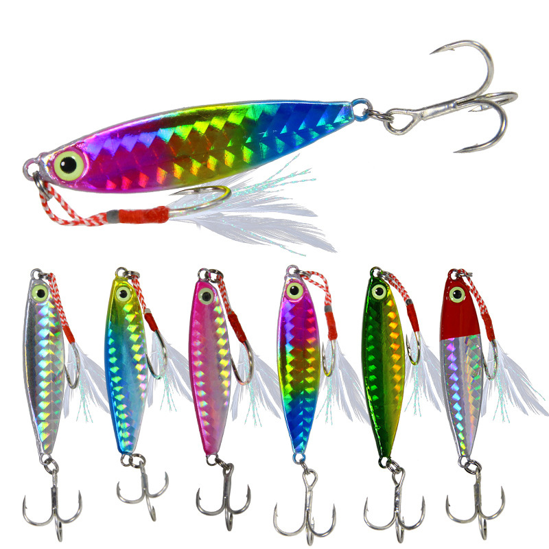 1PC Jigging Lead Fish 10G/16G/20G Metal Jig Fishing Lure With Hooks 6 Colors Paillette Knife Wobbler Artificial Hard Bait New